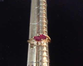 Vintage 14K Yellow Gold Ruby and Diamond Ring Size 6
