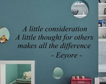 A little consideration childrens famous wall quote wall art home decor bedroom playroom living you choose size and colour