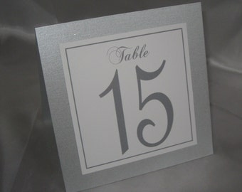 Silver Shimmer, White & Gray Wedding Tented Table Numbers Wedding Bridal Shower Anniversary Party Baptism #305