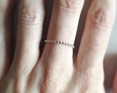 Silver Bead Ring ~ Minimal Sterling Silver Skinny Polka Dot Ring ~ Simple Thin Everyday Band