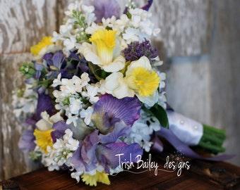 Spring Wedding Bouquet, Iris, Lilac, daffodil
