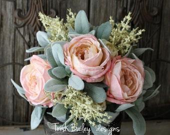 Blush Cabbage Rose & Lambs Ear Wedding Bouquet