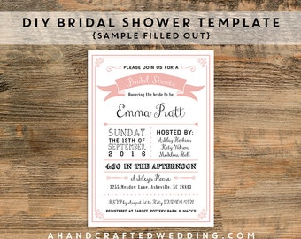 DIY Blush Pink Bridal Shower Template