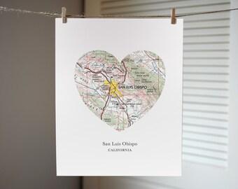 San Luis Obispo Heart Map Print, California Art Print, Custom City Print, California Map Art