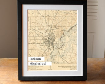 Jackson Mississippi Map Art, Mississippi State Old Map, Antique Jackson Map, Map Print, Mississippi State