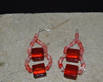 Red glass beads with sterling silver finding