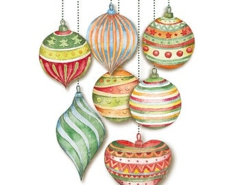 Christmas balls, hand painted watercolor, watercolor clipart, christmas clipart