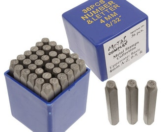 UPPERCASE BASIC Gothic Alphabet and Numbers 36 Piece Metal Stamp Kit, 1.5mm, 3mm or 4mm, Similar to Arial, Upper Case, Letters and Numbers