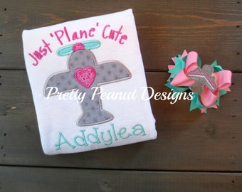 Girl Airplane Shirt and Bow Set - Just Plane Cute Airplane Shirt or Onesie - Girl Pilot