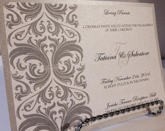Silver Wedding Invitations, Wedding Invitations, Damask invitations, Classic invitations, Custom invitations, Elegant Invitations