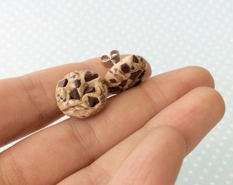 Chocolate Chip Cookie Earrings - Cookie Studs, Cookie Stud Earrings, Polymer Clay Cookie Earrings, Cookie Post Earrings, Miniature Cookie