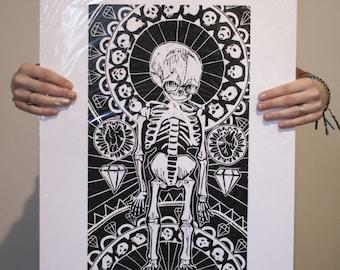 Fetus woodcut print