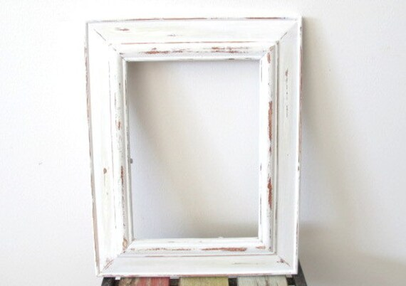 Items similar to rustic photo frame distressed frame - White wooden picture frames ...
