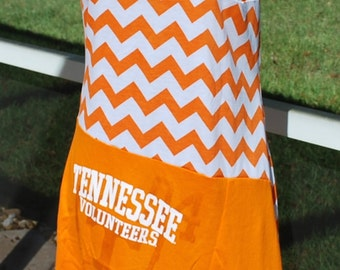 Tennessee Volunteers Game Day One Shoulder Dress Upcycled T-shirts, size small, medium or large