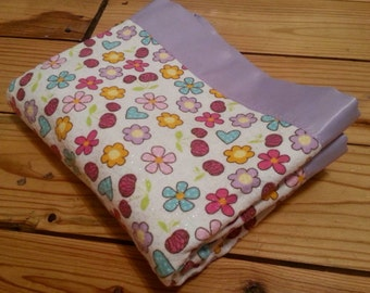 Adorable Glittery Flannel, Flower and Polka Dot Baby/Toddler Blanket