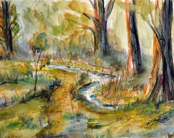 original watercolor painting of a brook meandering through the trees