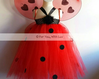 Ladybug tutu dress with wings (one-size youth) birthday dress, ladybug costume, dance / pageant dress