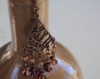Antique Brass Dangle Swarovski Crystal Earrings