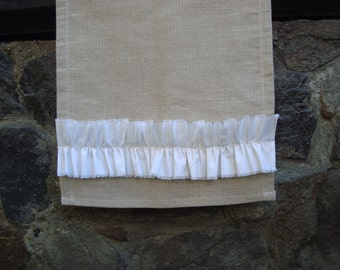 Burlap table runner with white cotton dibbon