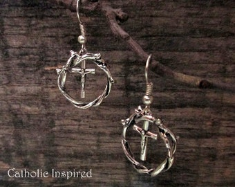Crown of Thorns and Crucifix Earrings ~ Antique Silver