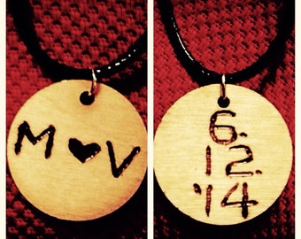 Valentines Day necklace wood burned intials with date anniversary gift for girlfriend christmas gift