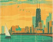 Chicago Lakefront Vintage Art Poster