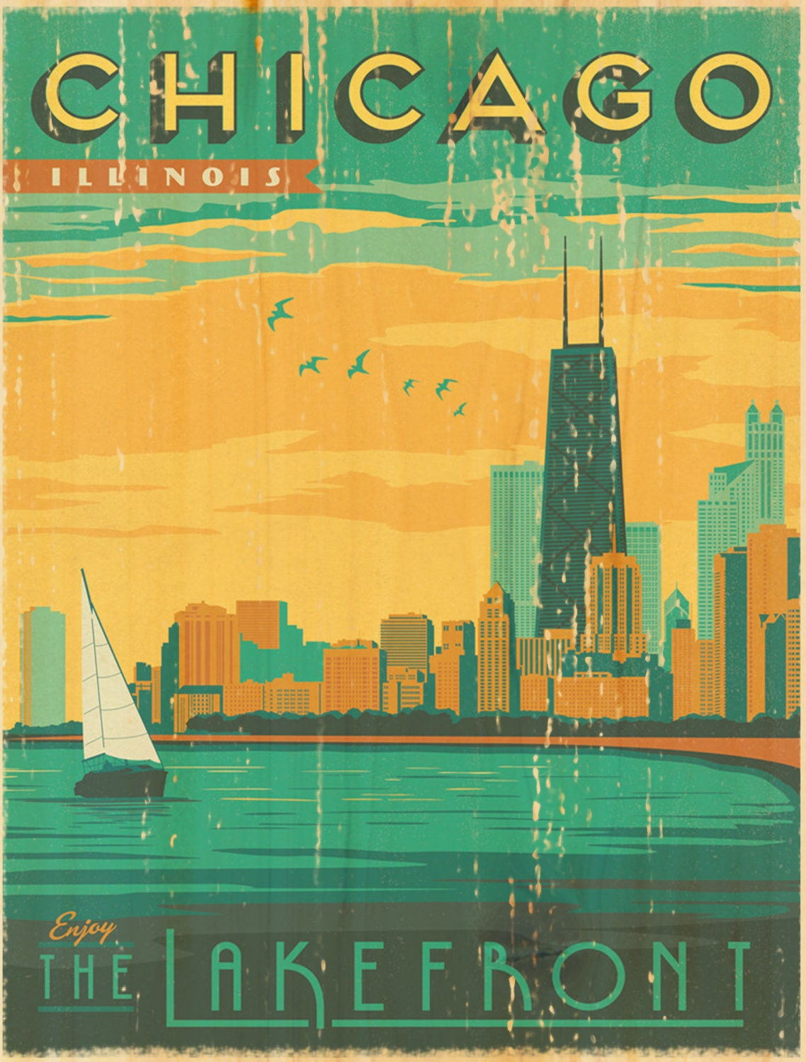 chicago lakefront vintage art poster