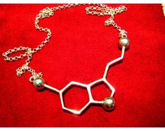 Silver Serotonin molecule necklace of happiness