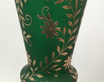 Tall Table Lamp Green Glass Gold Flowers