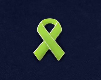 25 Lime Green Ribbon Awareness Pins (25 Pins)  (P-29-9)