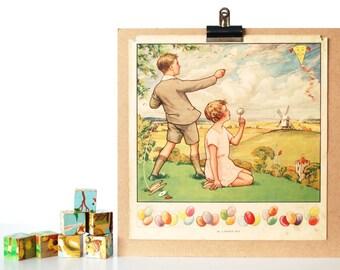 Nursery Art Vintage Childrens Poster Wall Decor - 1930's  - Kite Flying - Baby Kids Childrens Room Playroom Play Room Wall Prints