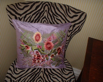Sferra Decorative Trellis Silk Floral Embroidered Pillow Lavender Unused Awning Stripe