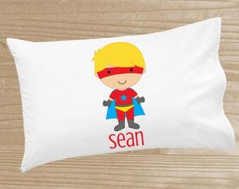 Personalized Kids' Pillowcase - Superhero Pillowcase for Boys - Superhero Pillow Case - Custom Superhero Pillow Slip