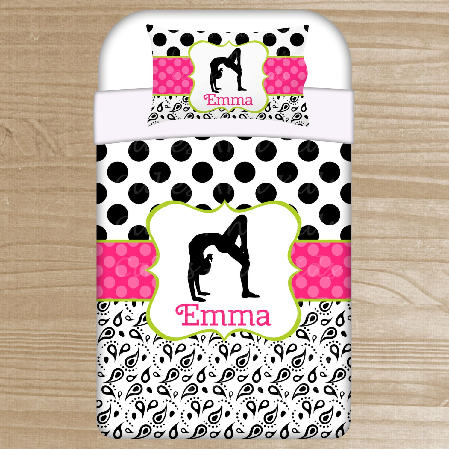 Personalized Gymnast Bedding Gymnastic Duvet By Thedreamydaisy