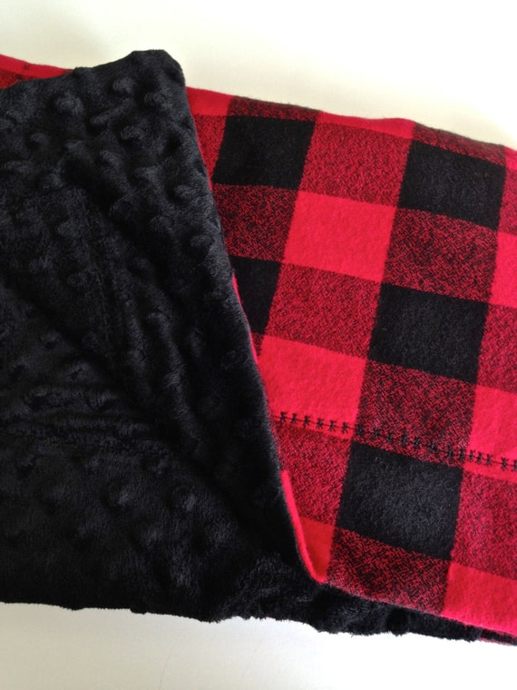 Warm Baby Blanket Black And Red Buffalo Check Fuzzy Baby