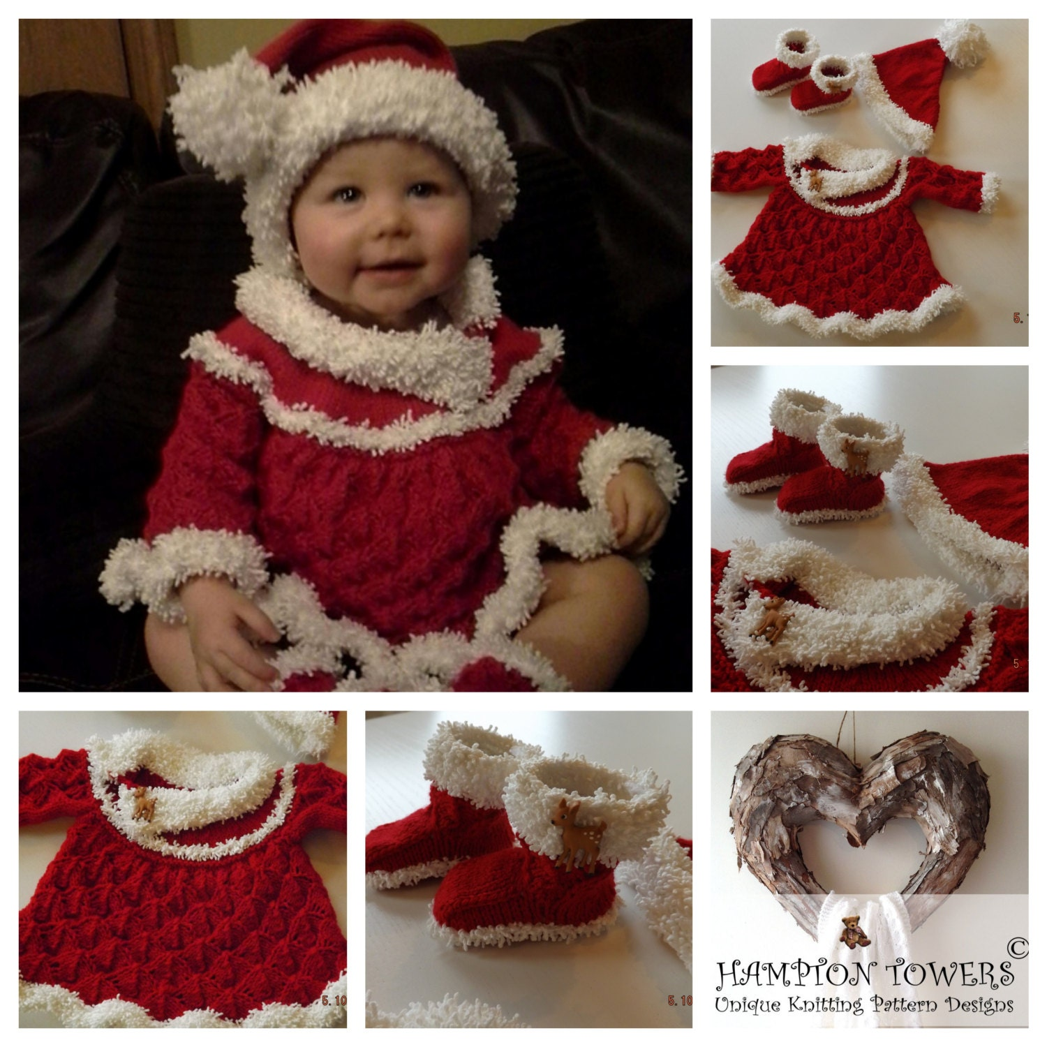 Baby gift knitting pattern knit for babys first christmas baby baby gift knitting pattern knit for babys first christmas baby shower pdf knitted santa set dress hat and booties bankloansurffo Images
