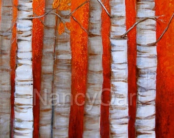 Birch tree art, Forest artwork, Fall painting, Original Nature painting by Nancy Quiaoit at Nancys Fine Art.