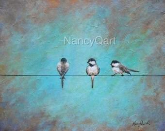 Bird on a wire art, modern bird artwork, Canvas rustic bird painting  print, Original Bird painting by Nancy Quiaoit