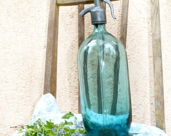 Vintage seltzer bottle, Antique Blue Seltzer Bottle,  Antique Soda Bottle,