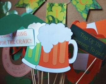 St. PATRICK'S Day - Irish - Leprechaun - Shamrock - PHOTOBOOTH Props - Masks - Non.Personalised - Instant Download