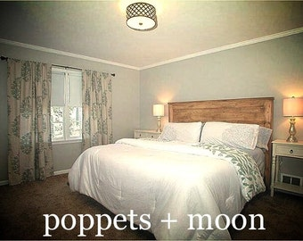 Poppets + Moon The Novec Rustic Waxed Pine Headboard- Aztec, Tribal, Chic- Creamy Taupe Stain w/ Dark Brown Texture. We Ship