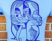 "Women's MEDIUM T-shirt - Blue ""Soul Date"" - Todd Marrone"