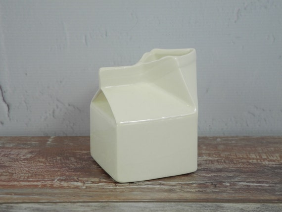 Ceramic Milk Carton Creamer by JnetsJunque on Etsy