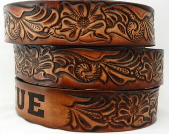 Name Belt. Western design NBT927 Includes name in center back, utility buckle & leather keeper