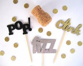 Pop Fizz Clink Cupcake Toppers, Kate Spade Inspired Cupcake Toppers, Bachelorette Party, New Years Cupcake Toppers, Wedding Cupcake Topper