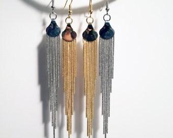 Geometric industrial sheet metal post earrings