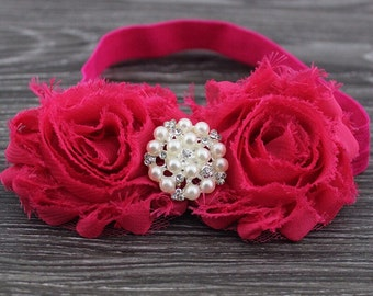 Hot Pink Shabby Chic Headband With A Pearl Embellishment .. Comes in Other Colors!!!