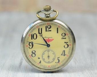 "Vintage Pocket Watch ""MOLNIJA"" Locomotive, Working Mechanical Men's pocket watch, Russia Soviet Union USSR"