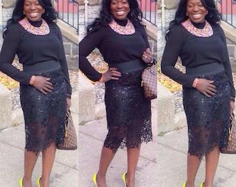 Guipure Straight Skirt Ireti Skirt
