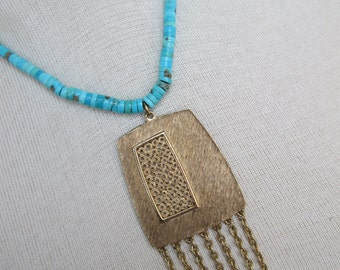 Turquoise Necklace with Gold Fringe Pendant // Jewelry// Rocker Chic // Urban Boho // Hippie Necklace// Gift for Her//